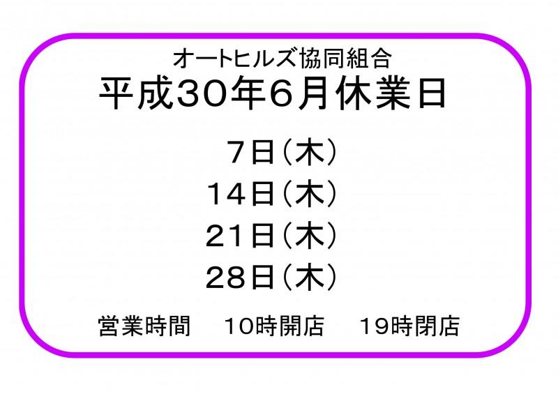 30年6月休業日のお知らせ-1